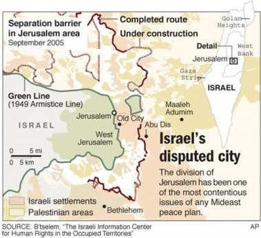 The separation barrier in the Jerusalem area.